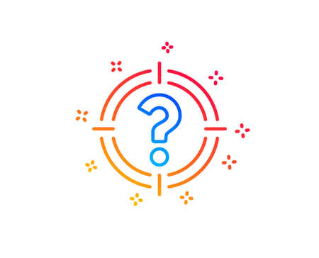 Target with Question mark line icon. Aim symbol. Help or FAQ sign. Gradient design elements. Linear headhunter icon. Random shapes. Vector