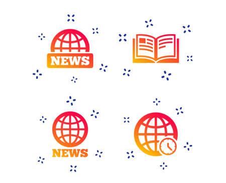 News icons. World globe symbols. Open book sign. Education literature. Random dynamic shapes. Gradient news icon. Vector 向量圖像