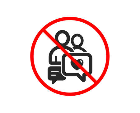 No or Stop. Couple communication icon. Love chat symbol. Valentines day sign. Prohibited ban stop symbol. No dating chat icon. Vector Illustration