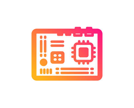 Motherboard icon. Computer component hardware sign. Classic flat style. Gradient motherboard icon. Vector