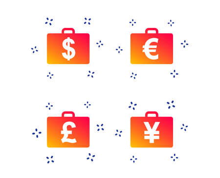 Businessman case icons. Cash money diplomat signs. Dollar, euro and pound symbols. Random dynamic shapes. Gradient currency icon. Vector