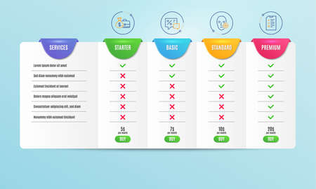 Discounts, Problem skin and Salary icons simple set. Comparison table. Interview sign. Best offer, Facial care, Diplomat with money bag. Checklist file. Business set. Pricing plan. Vector 向量圖像