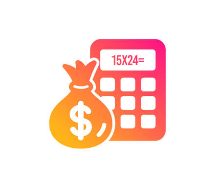 Calculator with money bag icon. Accounting sign. Calculate finance symbol. Classic flat style. Gradient finance Calculator icon. Vector