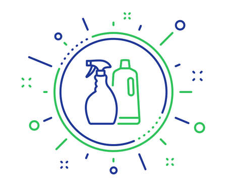 Cleaning spray and Shampoo line icon. Washing liquid or Cleanser symbol. Housekeeping equipment sign. Quality design elements. Technology shampoo and Spray button. Editable stroke. Vector