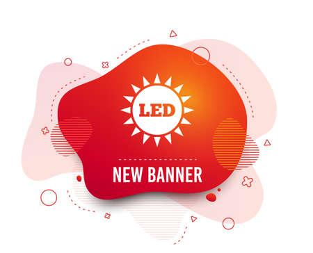 Fluid badge. Led light sun icon. Energy symbol. Abstract shape. Gradient led icon. Flyer liquid banner. Vector Illustration