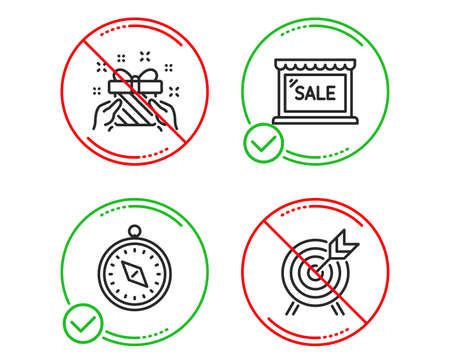 Do or Stop. Gift, Travel compass and Sale icons simple set. Archery sign. Present, Trip destination, Shopping store. Attraction park. Holidays set. Line gift do icon. Prohibited ban stop. Good or bad