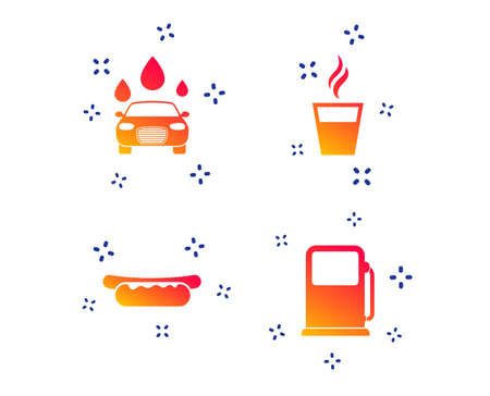 Petrol or Gas station services icons. Automated car wash signs. Hotdog sandwich and hot coffee cup symbols. Random dynamic shapes. Gradient gas station icon. Vector