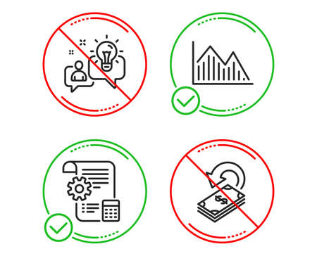 Do or Stop. Settings blueprint, Idea and Investment graph icons simple set. Cashback sign. Report document, Solution, Investment infochart. Financial transfer. Business set. Vector Vettoriali