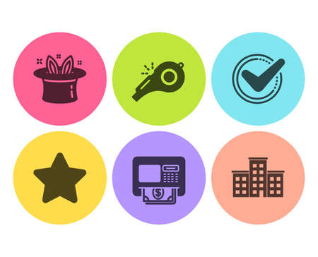 Atm, Whistle and Hat-trick icons simple set. Star, Confirmed and Company signs. Money withdraw, Kick-off. Flat atm icon. Circle button. Vector Stock Vector - 121270375
