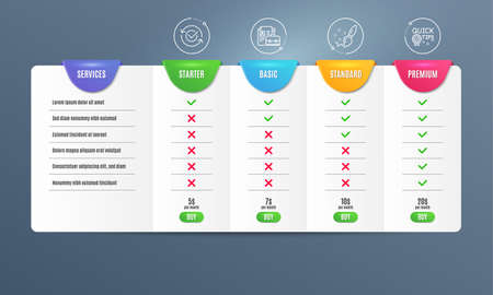 Approved, Vacancy and Paint brush icons simple set. Comparison table. Quick tips sign. Refresh symbol, Hiring job, Creativity. Helpful tricks. Education set. Pricing plan. Compare products. Vector