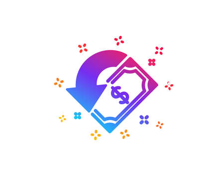 Cashback icon. Send or receive money sign. Dynamic shapes. Gradient design cashback icon. Classic style. Vector Illustration