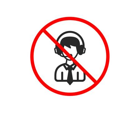 No or Stop. Shipping support icon. Delivery manager sign. Logistics help symbol. Prohibited ban stop symbol. No shipping support icon. Vector