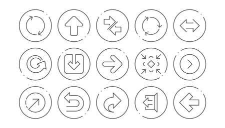 Icônes de flèche. Téléchargez, synchronisez et partagez. Jeu d'icônes linéaire de navigation. Boutons de ligne avec icône. Trait modifiable. Vecteur