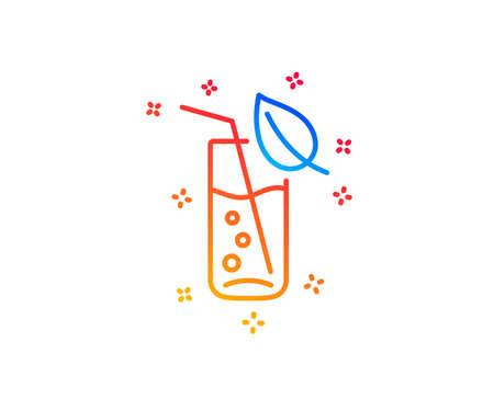 Water glass line icon. Soda aqua drink sign. Drop symbol. Gradient design elements. Linear water glass icon. Random shapes. Vector