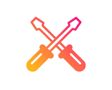 Screwdriver icon. Repair service sign. Fix instruments symbol. Classic flat style. Gradient screwdriverl icon. Vector
