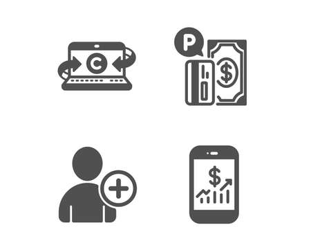 Set of Add user, Parking payment and Copywriting notebook icons. Mobile finance sign. Profile settings, Paid garage, Writer laptop. Phone accounting.  Classic design add user icon. Flat design. Vector
