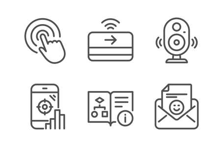 Speaker, Contactless payment and Seo phone icons simple set. Technical algorithm, Click and Smile signs. Music sound, Financial payment. Technology set. Line speaker icon. Editable stroke. Vector