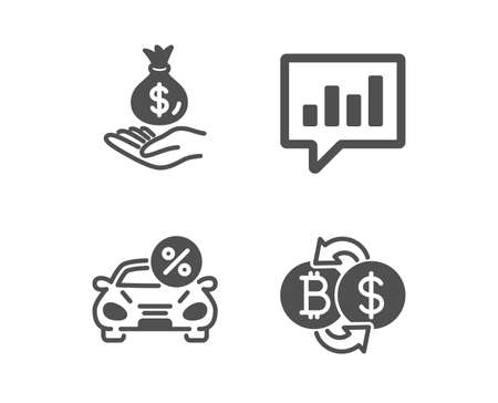 Set of Income money, Car leasing and Analytical chat icons. Bitcoin exchange sign. Savings, Transport discount, Communication speech bubble. Cryptocurrency change.  Classic design income money icon Ilustracja