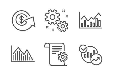 Grafico di investimento, cambio del dollaro e set di icone di lavoro semplice. Infochart, documentazione tecnica e segnaletica statistica. Infochart di investimento, rimborso del denaro. Insieme di istruzione. Icona del grafico degli investimenti linea Vettoriali