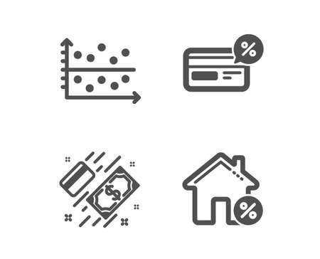 Set of Cashback, Dot plot and Payment icons. Loan house sign. Non-cash payment, Presentation graph, Money. Discount percent.  Classic design cashback icon. Flat design. Vector