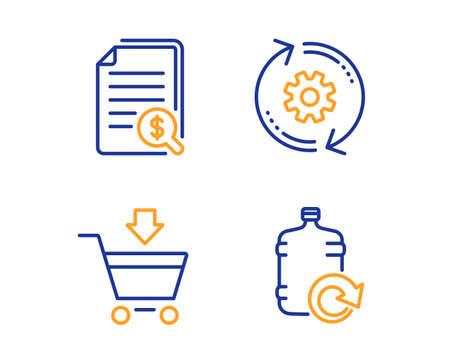 Documentos financieros, mercado en línea y conjunto simple de iconos de rueda dentada. Rellenar signo de agua. Verifique los documentos, el carrito de compras, la herramienta de ingeniería. Botella más fresca. Conjunto de negocios. Icono de documentos financieros lineales. Vector
