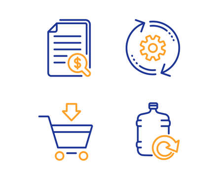 Documents financiers, marché en ligne et ensemble simple d'icônes à crémaillère. Remplir le signe de l'eau. Vérifiez les documents, le panier, l'outil d'ingénierie. Bouteille plus fraîche. Ensemble d'affaires. Icône de documents financiers linéaires. Vecteur