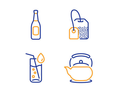 Tea bag, Beer and Water glass icons simple set. Teapot sign. Brew hot drink, Pub alcohol, Soda drink. Tea kettle. Food and drink set. Linear tea bag icon. Colorful design set. Vector Çizim