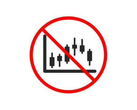 No or Stop. Candlestick chart icon. Financial graph sign. Stock exchange symbol. Business investment. Prohibited ban stop symbol. No candlestick graph icon. Vector Ilustracja