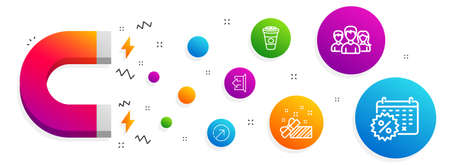 Magnet attracting. Takeaway coffee, Teamwork and Sign out icons simple set. Present, Direction and Calendar discounts signs. Hot latte drink, Group of users. Business set. Vector Фото со стока - 123159502