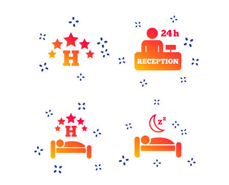 Five stars hotel icons. Travel rest place symbols. Human sleep in bed sign. Hotel 24 hours registration or reception. Random dynamic shapes. Gradient hotel icon. Vector