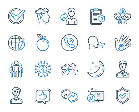 Check mark, Sharing economy and Mindfulness stress, Breath people line icons. Privacy Policy, Social Responsibility, Breath icons. Bad weather, Tick check mark, sharing refer, stress. Vector Illustration