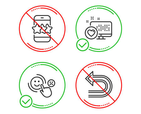 Do or Stop. Heart, Customer satisfaction and Star icons simple set. Undo sign. Social media, Happy smile, Phone feedback. Left turn. Technology set. Line heart do icon. Prohibited ban stop. Vector Illustration