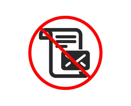 No or Stop. Mail letter icon. Read Message correspondence sign. E-mail symbol. Prohibited ban stop symbol. No mail letter icon. Vector Stock Vector - 121270458