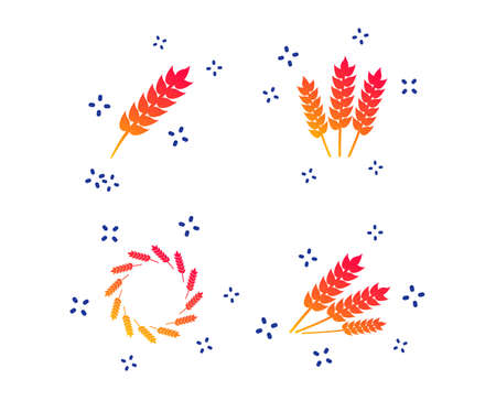 Agricultural icons. Gluten free or No gluten signs. Wreath of Wheat corn symbol. Random dynamic shapes. Gradient gluten icon. Vector Vettoriali