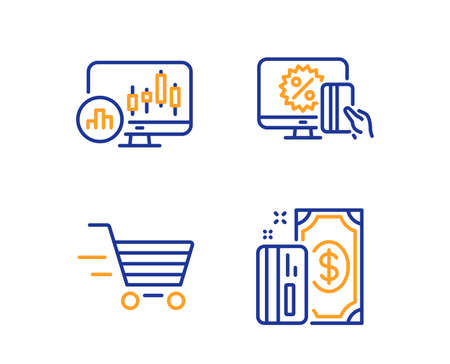 Candlestick chart, Online shopping and Delivery shopping icons simple set. Payment sign. Report analysis, Black friday, Online buying. Cash money. Finance set. Linear candlestick chart icon. Vector