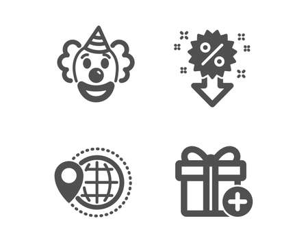 Set of Clown, World travel and Discount icons. Add gift sign. Funny performance, Map pointer, Sale shopping. Present box.  Classic design clown icon. Flat design. Vector