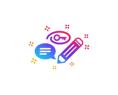 Keywords icon. Pencil with key symbol. Marketing strategy sign. Dynamic shapes. Gradient design keywords icon. Classic style. Vector 向量圖像