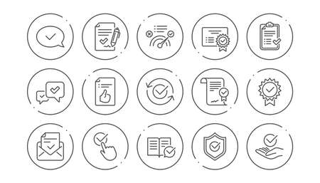 Approve line icons. Checklist, Certificate and Award medal. Thumbs up certified document linear icon set. Line buttons with icon. Editable stroke. Vector