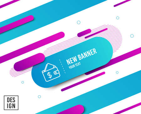 Wallet line icon. Affordability sign. Cash savings symbol. Diagonal abstract banner. Linear wallet icon. Geometric line shapes. Vector Ilustração