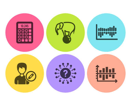 Elephant on ball, Question mark and Calculator icons simple set. Edit person, Column diagram and Diagram chart signs. Circus show, Quiz chat. Business set. Flat elephant on ball icon. Circle button