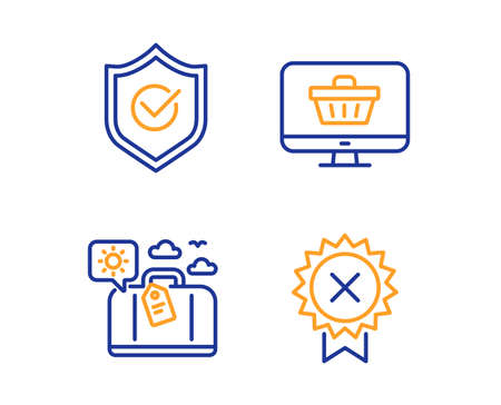 Approved shield, Web shop and Travel luggage icons simple set. Reject medal sign. Protection, Shopping cart, Trip bag. Award rejection. Linear approved shield icon. Colorful design set. Vector