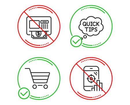 Do or Stop. Market sale, Atm and Quick tips icons simple set. Seo phone sign. Customer buying, Money withdraw, Helpful tricks. Search engine. Technology set. Line market sale do icon. Vector Ilustração