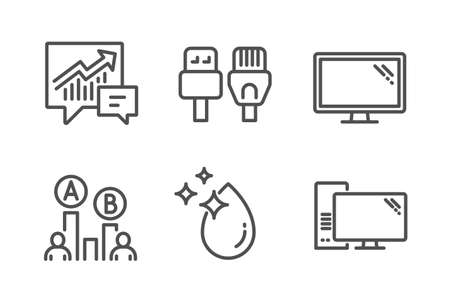 Ab testing, Accounting and Computer cables icons simple set. Water drop, Monitor and Computer signs. Test chart, Supply and demand. Science set. Line ab testing icon. Editable stroke. Vector Çizim