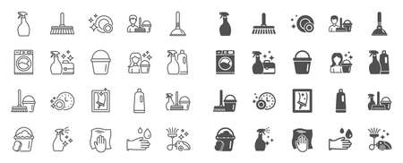 Cleaning line icons. Laundry, Window sponge and Vacuum cleaner icons. Washing machine, Housekeeping service and Maid cleaner equipment. Window cleaning, Wipe off, laundry washing machine. Vector Reklamní fotografie - 121270497