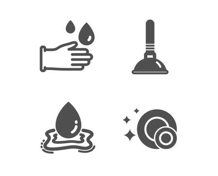 Set of Plunger, Water splash and Rubber gloves icons. Clean dishes sign. Clogged pipes cleaner, Aqua drop, Hygiene equipment. Dishwasher concept.  Classic design plunger icon. Flat design. Vector