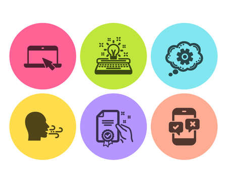 Cogwheel, Certificate and Breathing exercise icons simple set. Portable computer, Typewriter and Phone survey signs. Engineering tool, Certified guarantee. Business set. Flat cogwheel icon. Vector