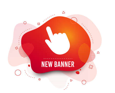 Fluid badge. Click pointer icon. Hand with finger cursor sign symbol. Abstract shape. Gradient click icon. Flyer liquid banner. Vector