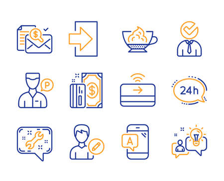 Login, 24h service and Edit person icons simple set. Espresso cream, Accounting report and Contactless payment signs. Spanner, Valet servant and Ab testing symbols. Vacancy, Payment and Idea. Vector