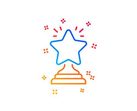 Rank star line icon. Success reward symbol. Best result sign. Winner cup. Gradient design elements. Linear winner icon. Random shapes. Vector