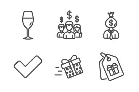 Tick, Wineglass and Manager icons simple set. Present delivery, Salary employees and Coupons signs. Confirm check, Burgundy glass. Business set. Line tick icon. Editable stroke. Vector Ilustração